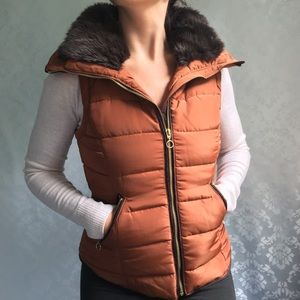 NWT H&M Rusty Brown Tan Padded Puffer Vest